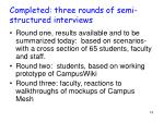 completed three rounds of semi structured interviews