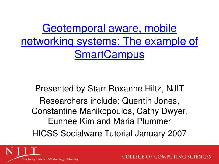 geotemporal aware mobile networking systems the example of smartcampus n.