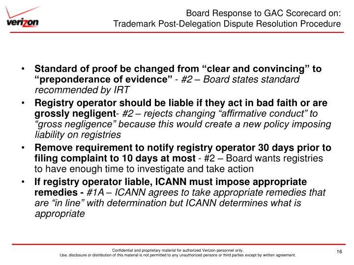 Board Response to GAC Scorecard on: