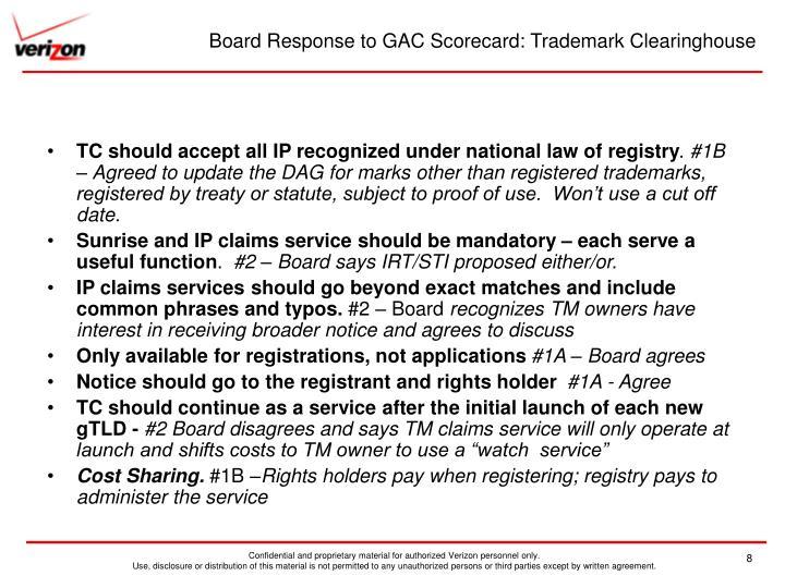 Board Response to GAC Scorecard: Trademark Clearinghouse