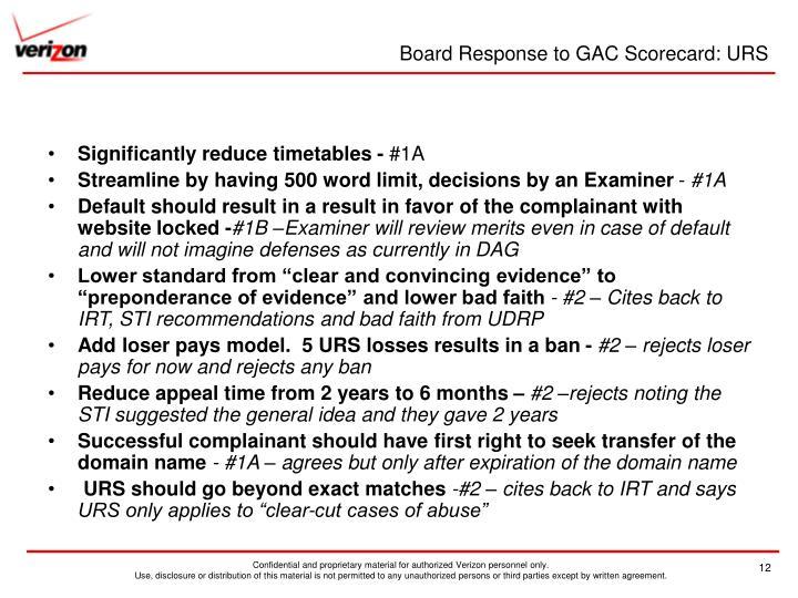 Board Response to GAC Scorecard: URS