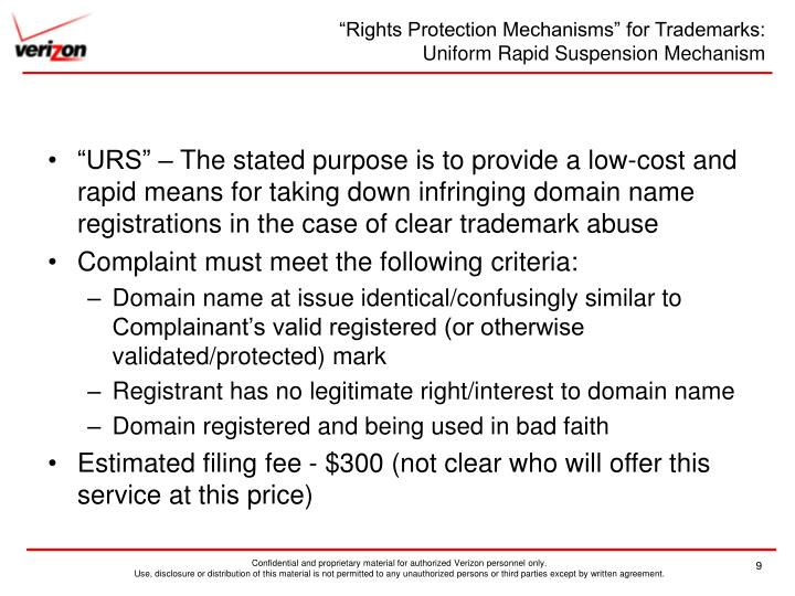 """""""Rights Protection Mechanisms"""" for Trademarks:"""