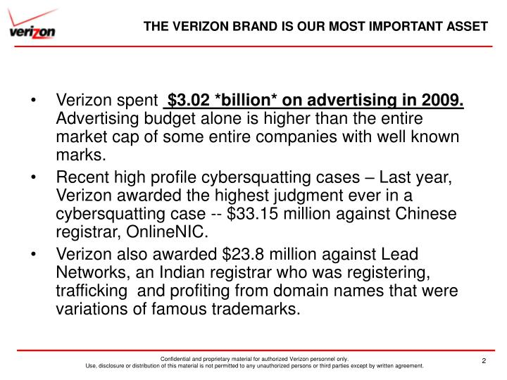 The verizon brand is our most important asset