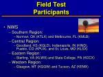 field test participants