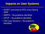 impacts on user systems