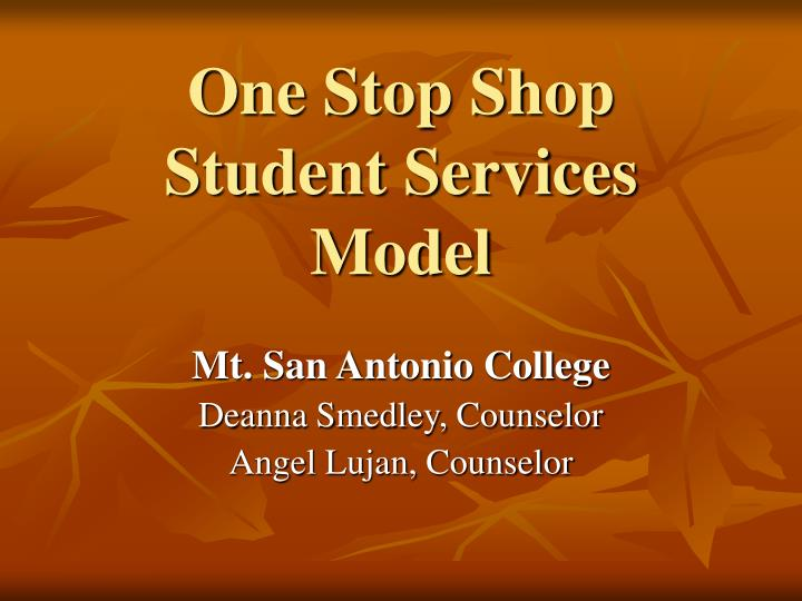 one stop shop student services model n.