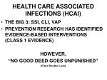 health care associated infections hcai