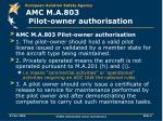 amc m a 803 pilot owner authorisation