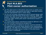 part m a 803 pilot owner authorisation