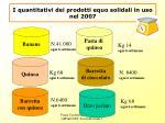 i quantitativi dei prodotti equo solidali in uso nel 2007