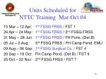 units scheduled for nttc training mar oct 04