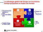 la estrategia global del grupo en e business incluye proyectos en todos los frentes