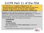 21cfr part 11 of the fda