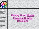 making good undue financial burden decisions