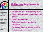 mcmorrow requirements