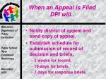 when an appeal is filed dpi will