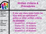 written criteria procedures