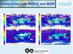 comparison with modis and misr