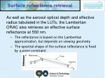 surface reflectance retrieval