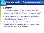 pragmatic solution a risk based approach
