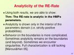 analyticity of the re rate1