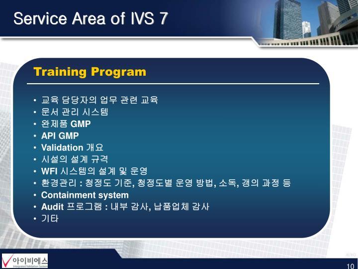 Service Area of IVS 7