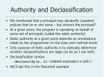 authority and declassification