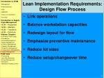 lean implementation requirements design flow process