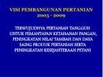 visi pembangunan pertanian 2005 2009