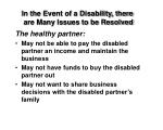 in the event of a disability there are many issues to be resolved1
