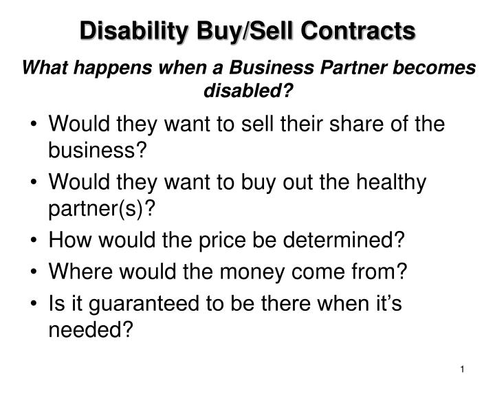 what happens when a business partner becomes disabled n.
