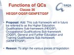 functions of qcs clause 36 heqsf oqsf genfetqsf