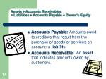 assets accounts receivables liabilities accounts payable owner s equity