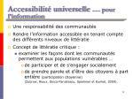 accessibilit universelle pour l information