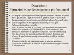 discussion formation et perfectionnement professionnel