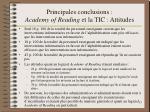 principales conclusions academy of reading et la tic attitudes