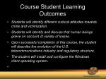 course student learning outcomes
