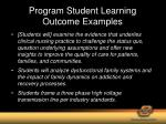 program student learning outcome examples