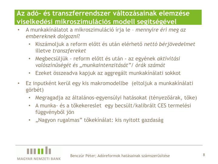 Az adó- és transzferrendszer változásainak elemzése