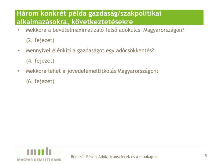 Három konkrét példa gazdaság/szakpolitikai alkalmazásokra, következtetésekre