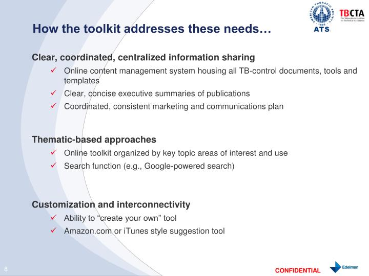 How the toolkit addresses these needs…