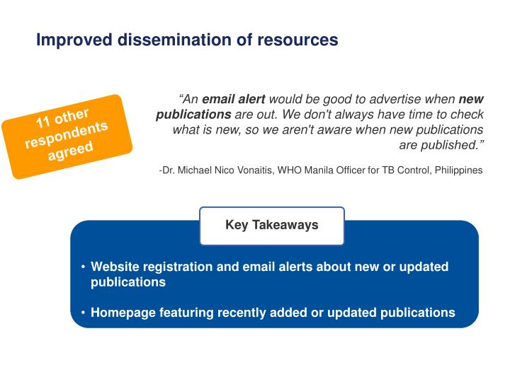 Improved dissemination of resources