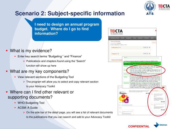 Scenario 2: Subject-specific information