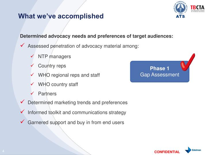 What we've accomplished