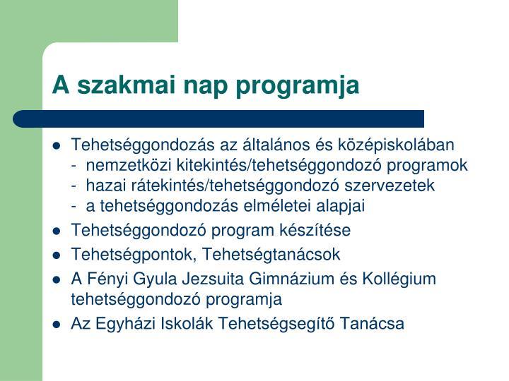 A szakmai nap programja