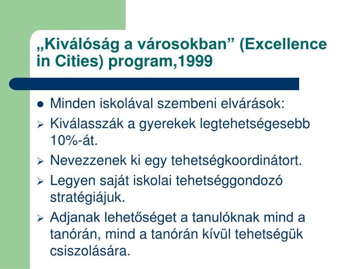 """""""Kiválóság a városokban"""" (Excellence in Cities) program,1999"""