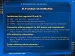elp usage in romania