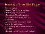 summary of major risk factors