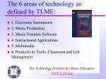 the 6 areas of technology as defined by ti me