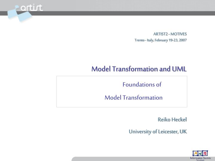 foundations of model transformation n.